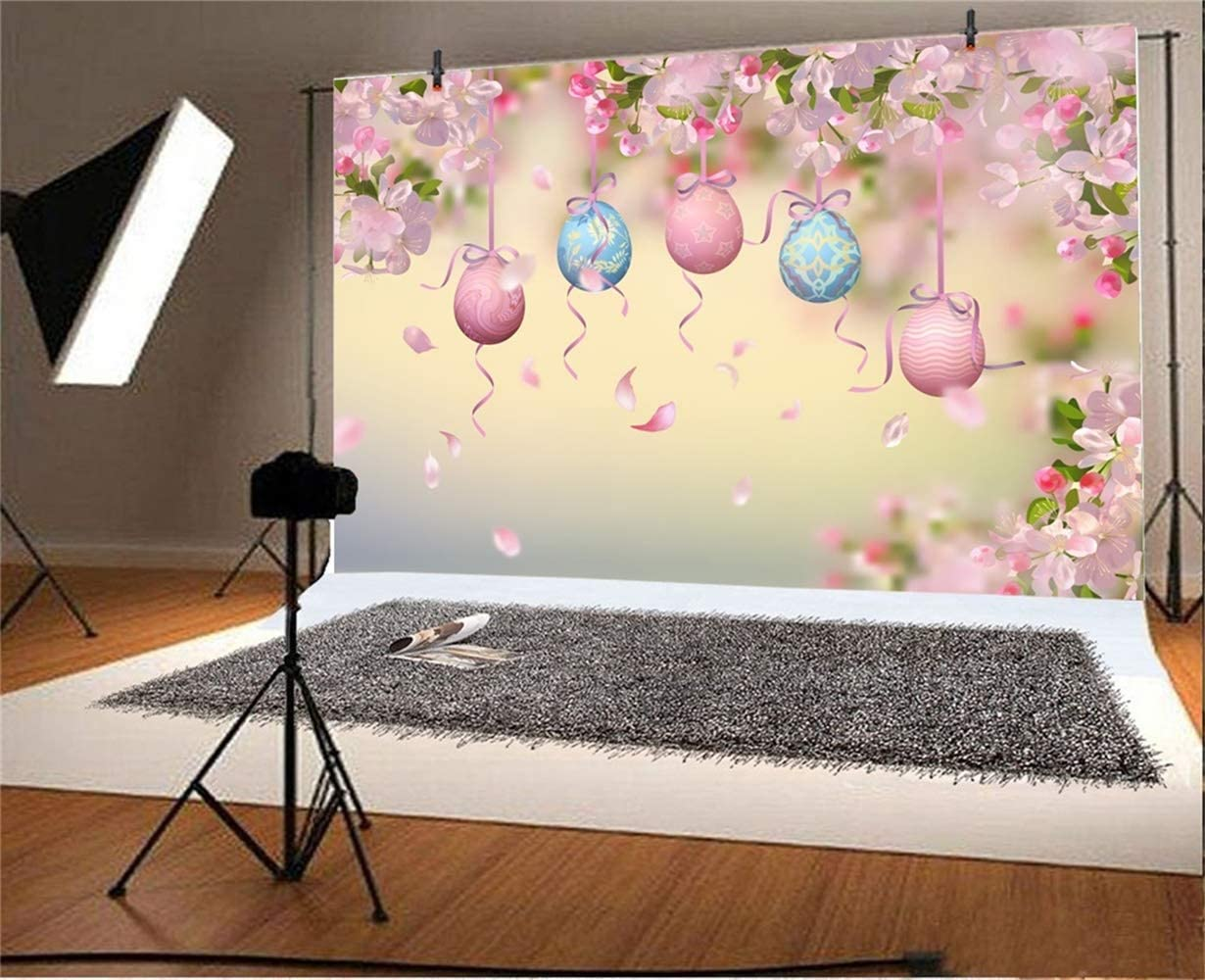 GoHeBe 10x7ft Vinyl Easter Photography Background Hanging Easter Eggs Spring Pink Peach Blossom Falling Petals Backdrop Child Kids Baby Girl Portrait Greeting Card Easter Egg Hunt Wallpaper