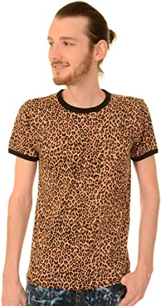 Run & Fly Hombre Años 80 Retro Rocker Natural Estampado Leopardo Ringer Camiseta: Amazon.es: Ropa y accesorios