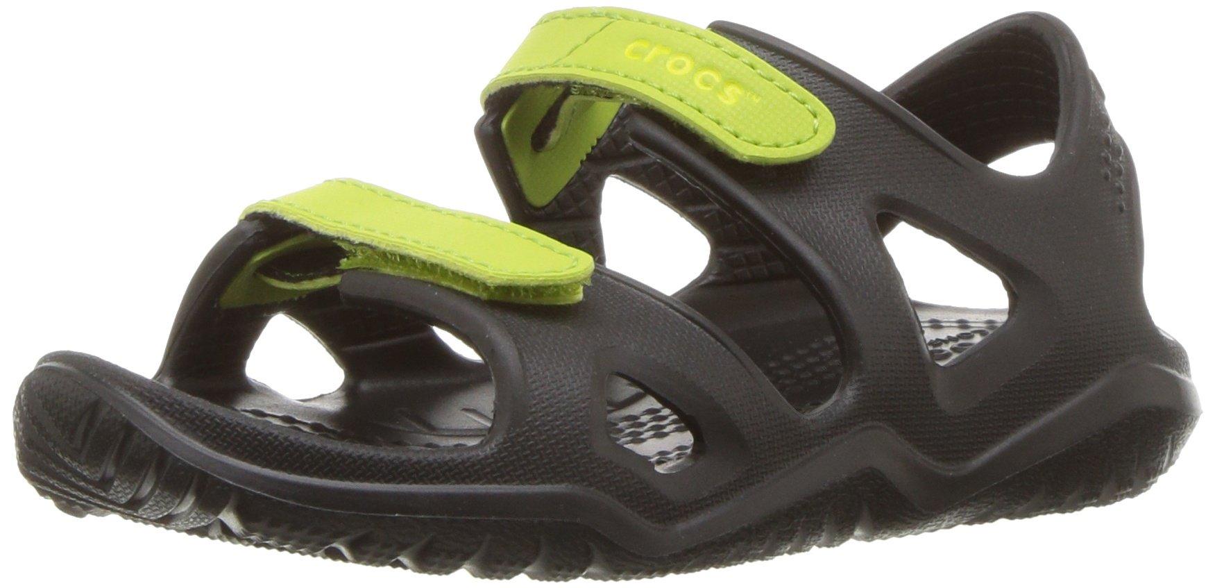Crocs unisex-kids Swiftwater River Sandal Sandal, black/volt green, 9 M US Toddler