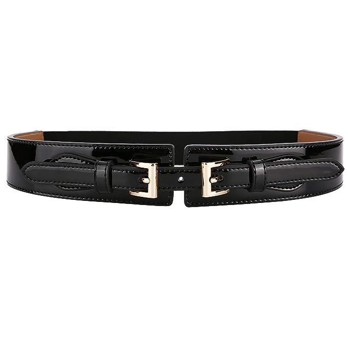 fcf83cb89c88 Ayli Women s Waist Belt Shiny Patent Leather Elastic Stretch Cinch Belt