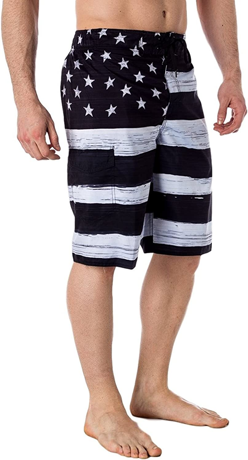 US Apparel Licensed-Mart Men's American Flag Inspired Board Shorts (Small, Black)