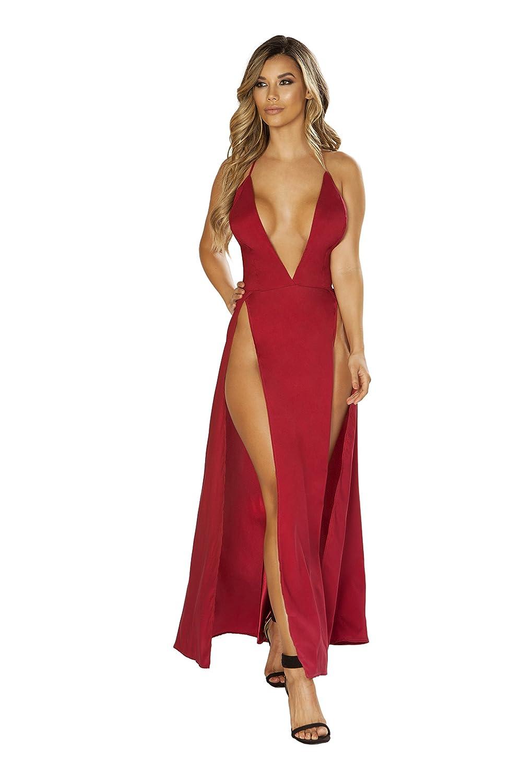 Roma Costume Maxi Length Satin Dress with High Slits /& Deep V
