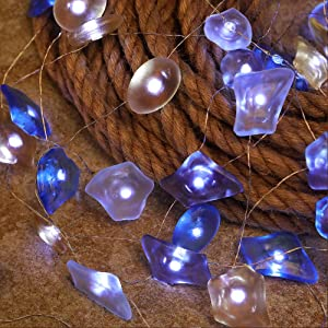 WSgift Sea Glass String Lights, Beach Theme Decorative Lights 19 Ft 40 LED USB Plug-in with Remote and Timer for Indoor Outdoor Tent Wedding Nursery Bedroom Party Birthday