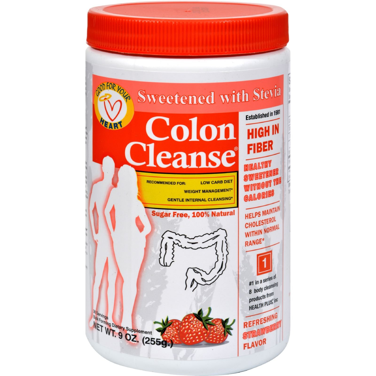 Health Plus Colon Cleanse - Strawberry Stevia - High In Fiber - For Weight Management - Natural - 9 oz (Pack of 4)