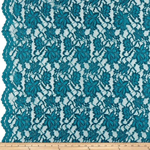 Ben Textiles Chantilly Lace Double Boarder Teal Fabric by The Yard