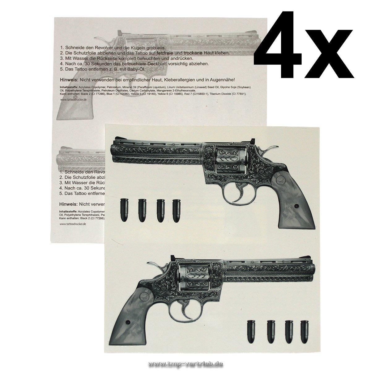 2 x Gun Tattoo - 2 Guns Tattoo - Gangster Revolver Tattoo (2) TMP Gun-2
