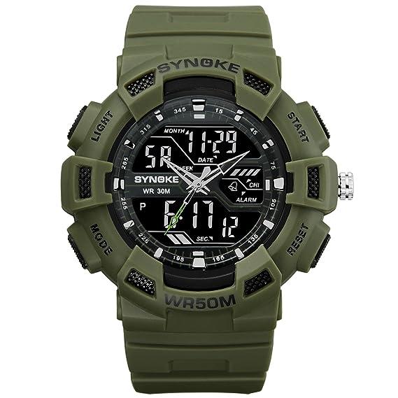 Relojes Militare para Hombre Digital LED Reloj Grandes Analogico y Digital Reloj Alarma Reloj Semana Verde: Amazon.es: Relojes