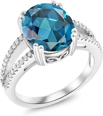 4.00ctw Genuine BLUE TOPAZ OVALS RING Sz 7 .925 Silver