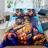 African American Lovers Couple Duvet Cover Sets Queen ,Afro Black King&Queen Bedding Set, Sexy Comforter Cover Bedroom Decor