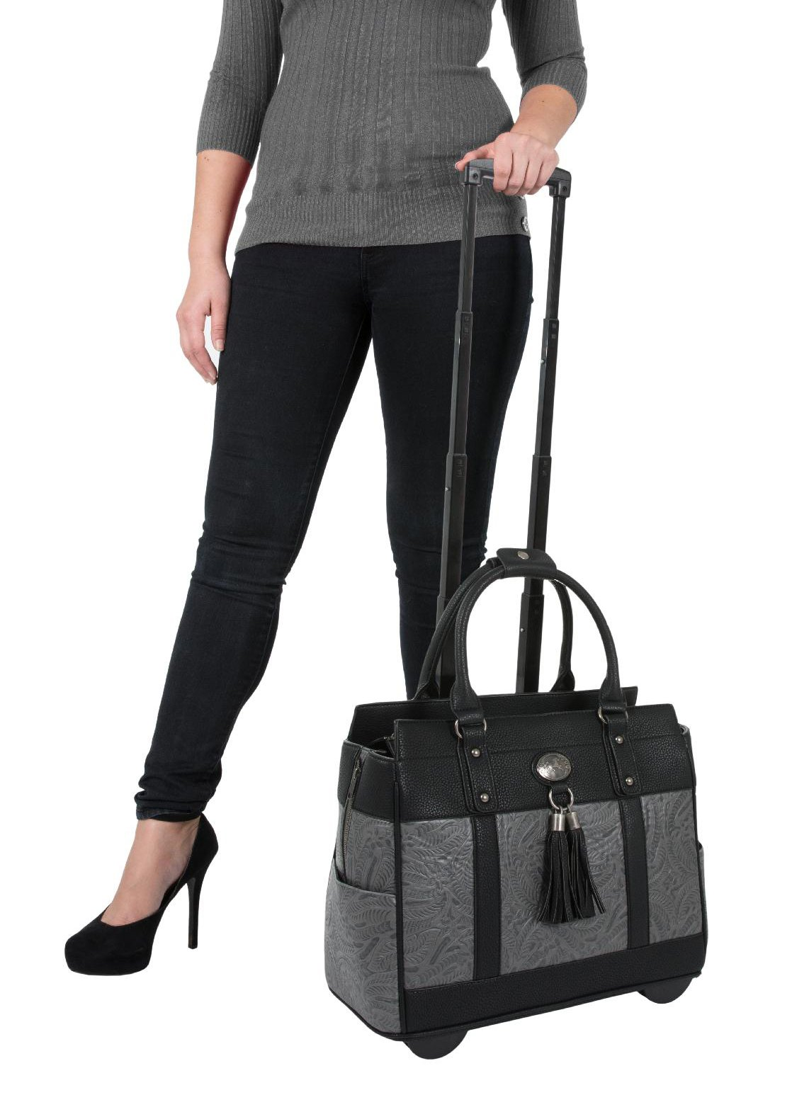 ''The Dallas 2'' Black & Grey Tooled Rolling iPad Tablet or Laptop Tote Carryall Bag