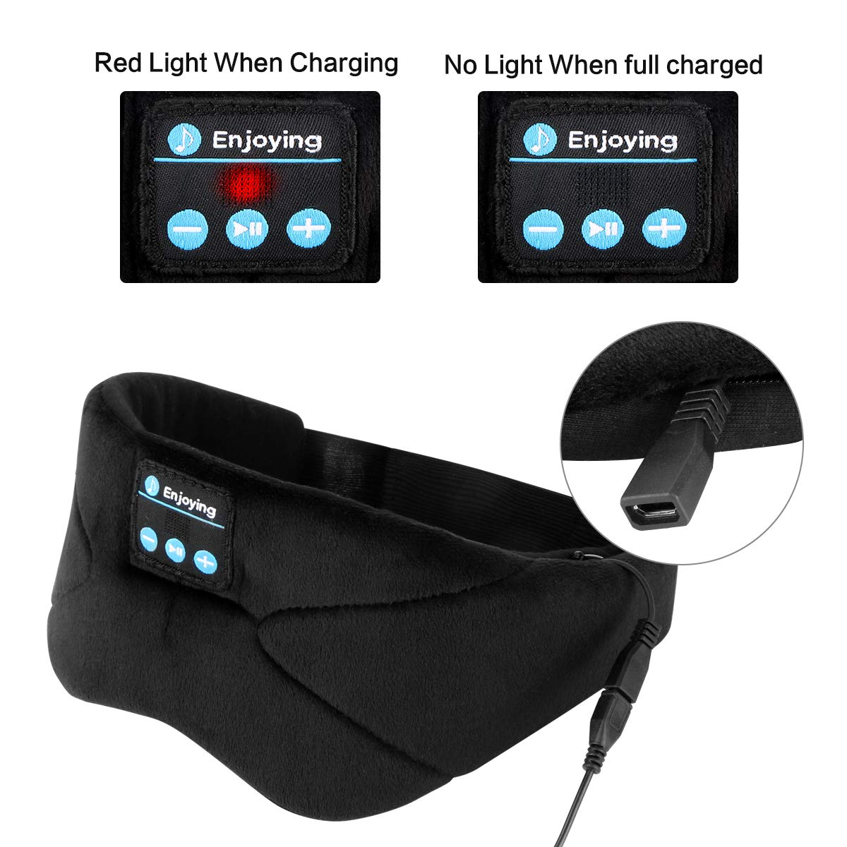 Sleep Headphones Bluetooth Eye Mask, Topoint Sleeping Mask Headphones Wireless Music Travel Eye Shades with Microphones, Black