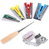 4-Pack Sewing Quilting Fabric Bias Tape Maker Tool Sizes 6mm 12mm 18mm 25mm + Tape Binding Presser Foot + Wooden Awl
