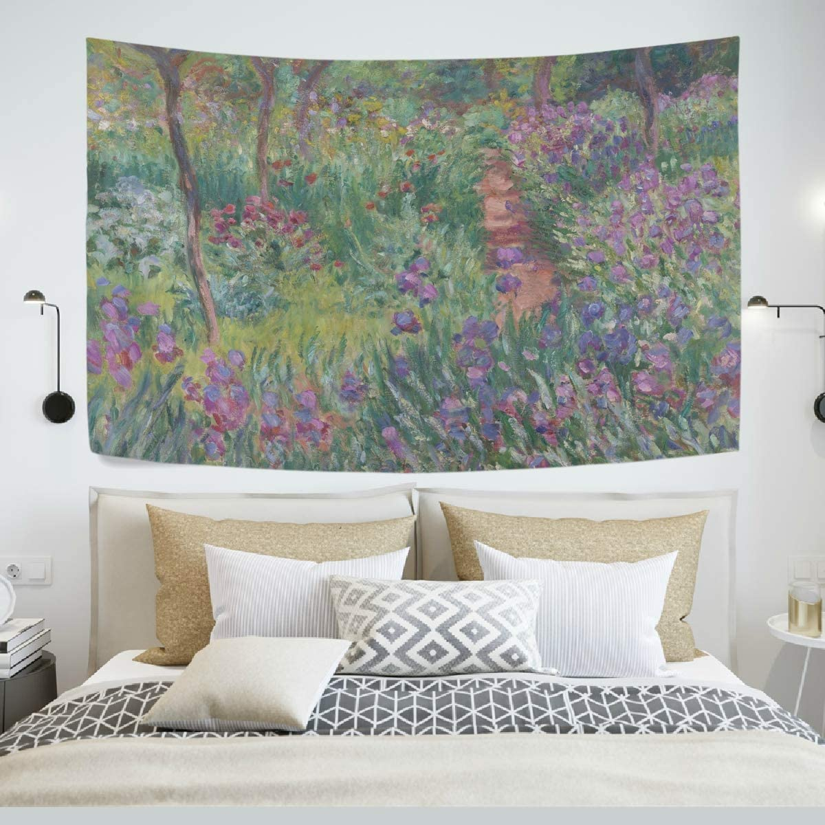 AHOMY Tapestry Wall Hanging, Monet's Iris Garden at Giverny Bedspread Picnic Bedsheet Blanket Wall Art Tapestry 60 X 40 inch