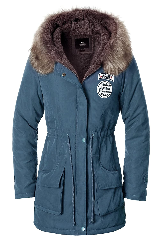Escalierレディース パーカージャケット フェイクファー 裏地 暖かいフード付きウィンターコート B01AVVW85M S|09 9 S