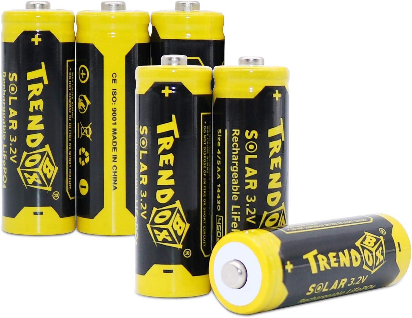 Trendbox 14430 3.2V 450mAh Battery LiFePo4 Rechargeable Solar Batteries for Outdoor Garden Light 6 Pack
