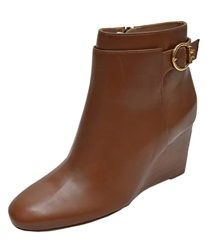 7fe09086b0ae Tory Burch Women s Calf Leather Sofia 85Mm Wedge Bootie Boots Festival Brown  (US  7.5