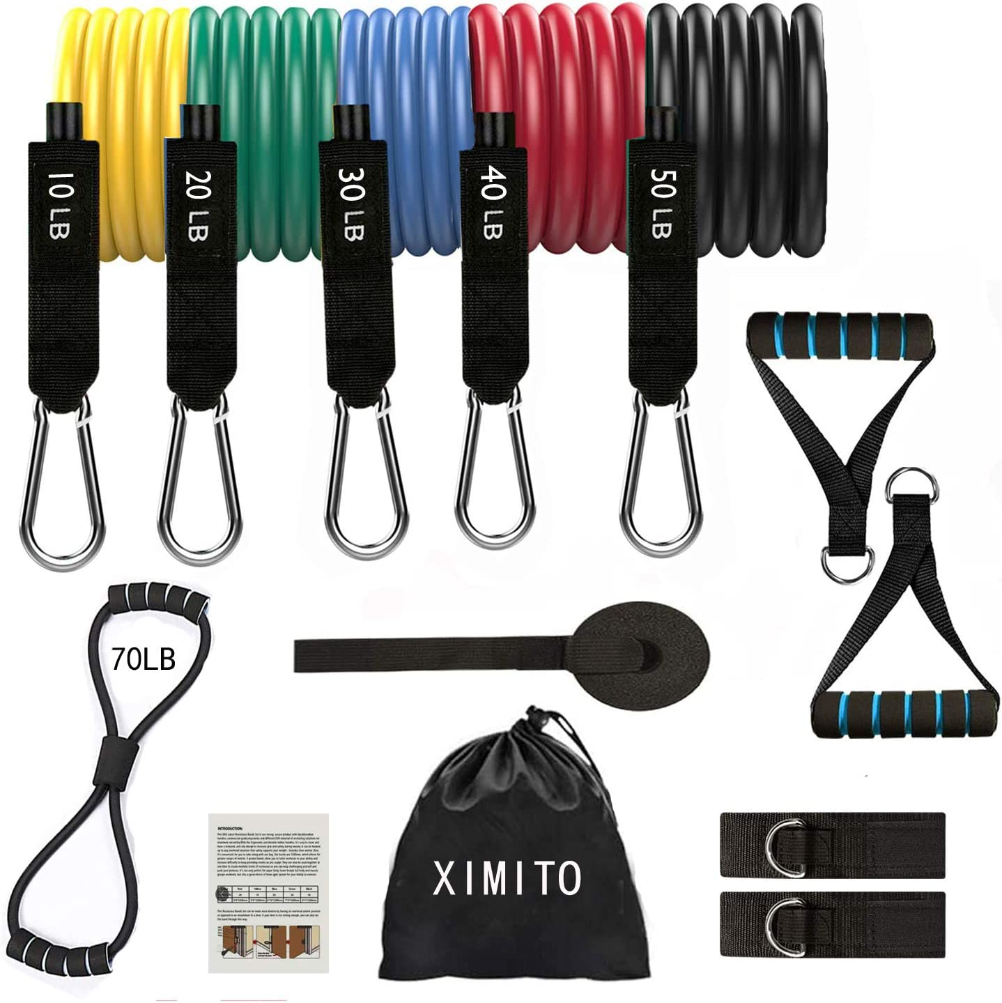 YOLOK Resistance Bands Set 13PCS Exercise Band for Working Out Up to 150 lbs, with 5 Stackable Fitness Tubes, Handles, Door Anchor, Ankle Straps and Workout Guide,Exercise Towel,Organizer Bag
