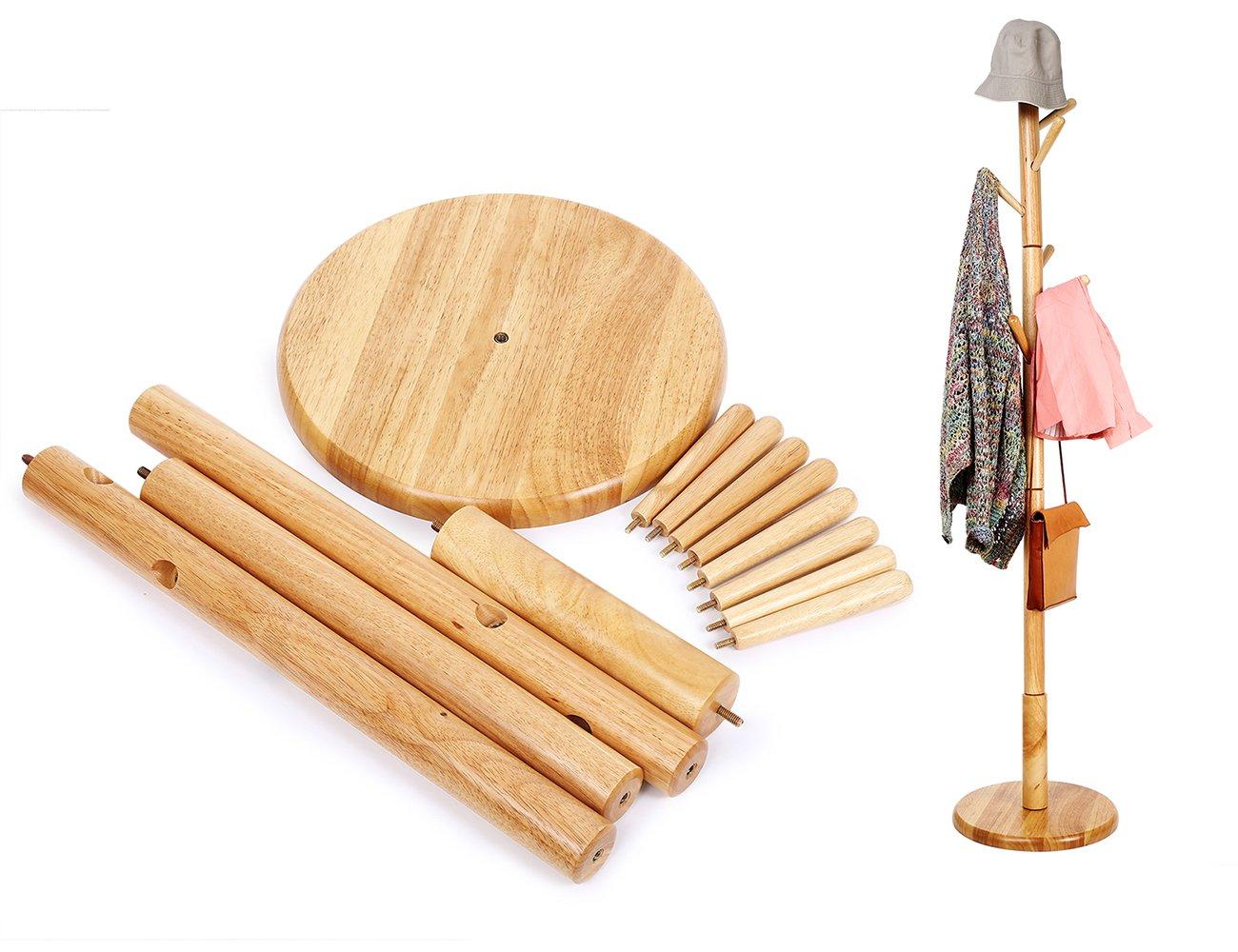 BESTOOL Coat Rack-Wooden Standing Clothes Rack Solid Wood Entryway Free Tree Floor Stand, Jacket Purse Bag and Hat Holder Rack-8 Hooks