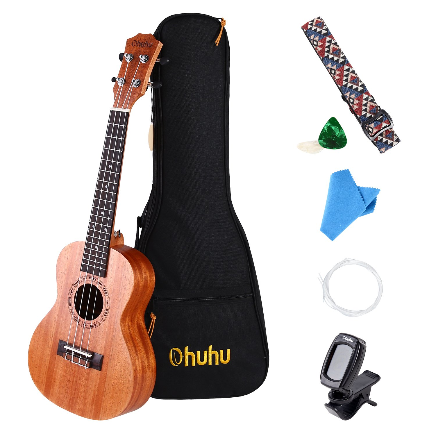 Concert Ukulele, Ohuhu 23 inch Mahogany Ukulele Concert Size Music Instruments for Uke Beginners, with Tuner, Ukulele Carrying Gig Bag, Ukulele Strap (Strap Pins Installed), Picks and Aquila Strings