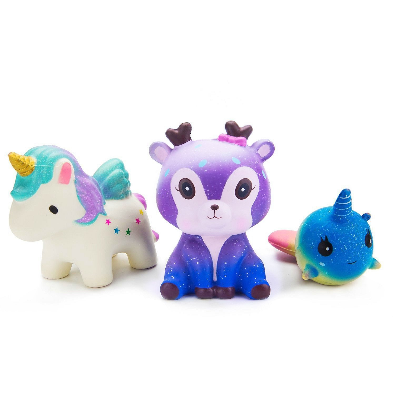 WATINC Kawaii 3 PCS Jumbo Squishy Toys,Starry Deer Unicorn Whale 3pcs Scented Slow Rising Squishies Charms Lovely Toy for Kids , Stress Relief Toy, Decorative Props Large(Starry Deer 3p)