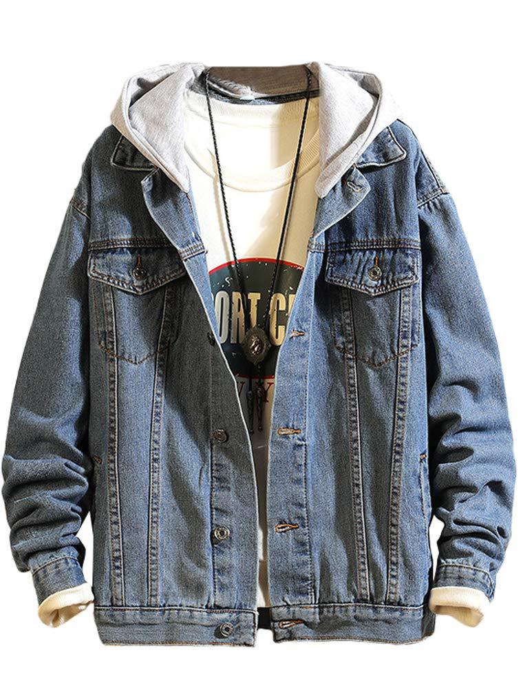 Lavnis Men's Denim Hoodie Jacket Casual Slim Fit Button Down Jeans Coat Style 2 Blue M by Lavnis