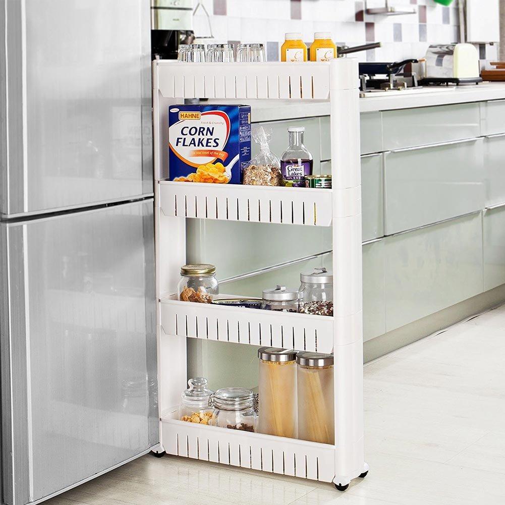 Small Carrello Slim Carrellino Salvaspazio Stretto con 4 Ripiani e Ruote Portooggetti Multiuso Ideale per Cucina Bagno Ripostiglio