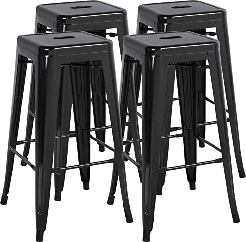 go2buy 30Inch High Metal Bar Stools Backless Indoor Outdoor Counter Stackable Bar Stools Black 4 pack