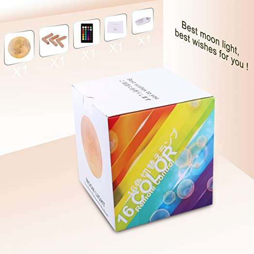 LOGROTATE 16 Colors LED 3d Print Moon Light with Stand & Remote&Touch Control and USB Rechargeable