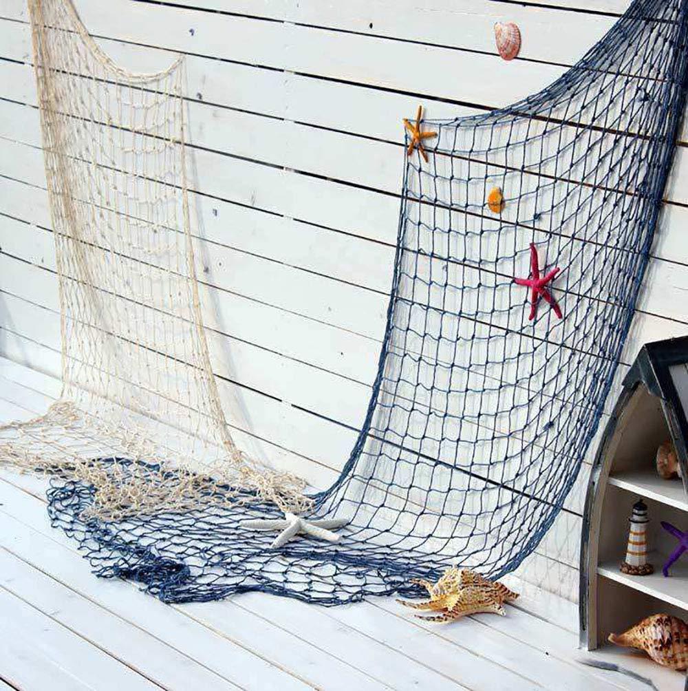 Favsonhome cremoso Bianco Rete da Pesca Beach Theme Decorative per Party casa Soggiorno Camera da Letto 198,1/cm Stile mediterraneo Decorazione da Parete Decorazione