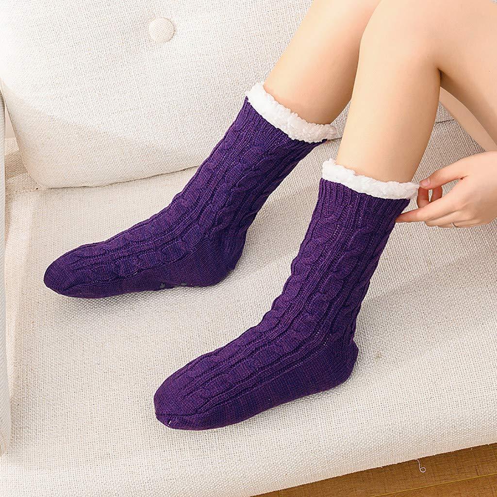 Women Socks Thick Warm Crew Funny Rainbow Animal Paw Print Slipper Sock For Women by Oldeagle