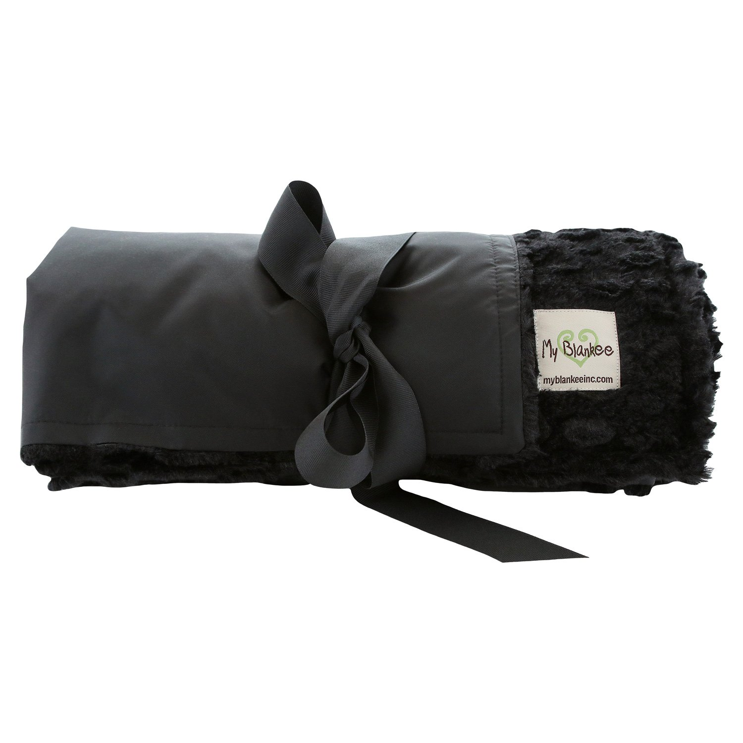 My Blankee Extra Large Picnic & Outdoor Blanket Warm and Soft Luxe Stone with Waterproof Backing, Black, 59'' X 85''