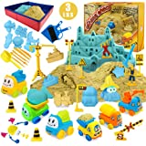 Play Construction Sand Kit - 3lbs Sand with 2 Colors, 6 Mini Construction Trucks, Construction Toys and Signs, Animal Mold, M