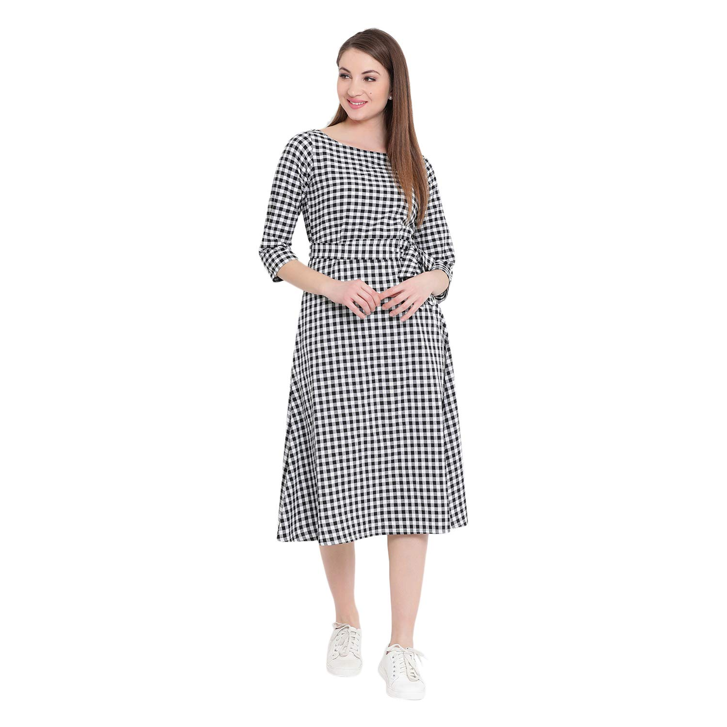 29f48a2dfc Fabnest Womens Black and White Check Dress with Belt: Amazon.in: Clothing &  Accessories