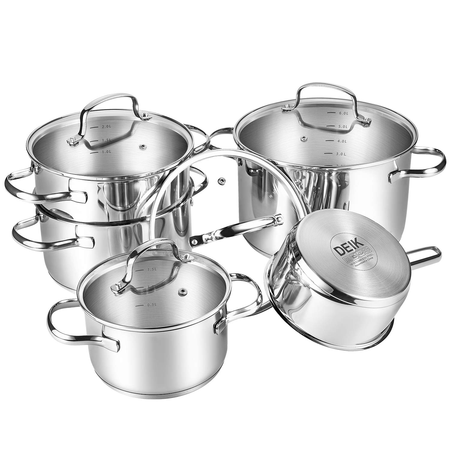 Pots & Pans Useful Stainless Steel 5pc Cookware Casserole Stockpot Pot Hob Set With Glass Lids Reputation First Cookware, Dining & Bar