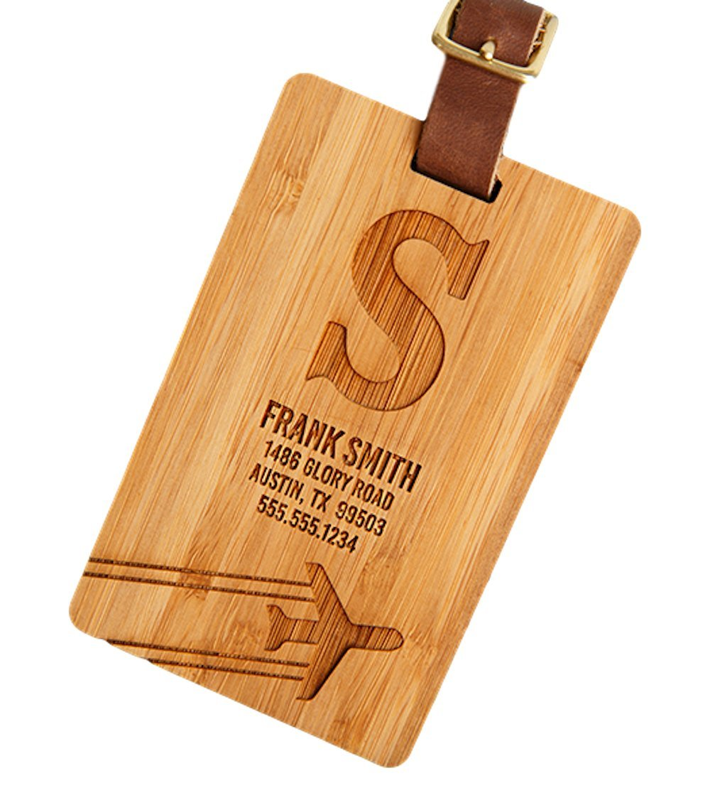 Personalized Wooden Luggage Tags 2.5'' x 4'' - Elegant and Durable Travel Suitcase Name Tags, Gift for Travelers Men and Women (4 Luggage Tags, S Frank Smith Design)