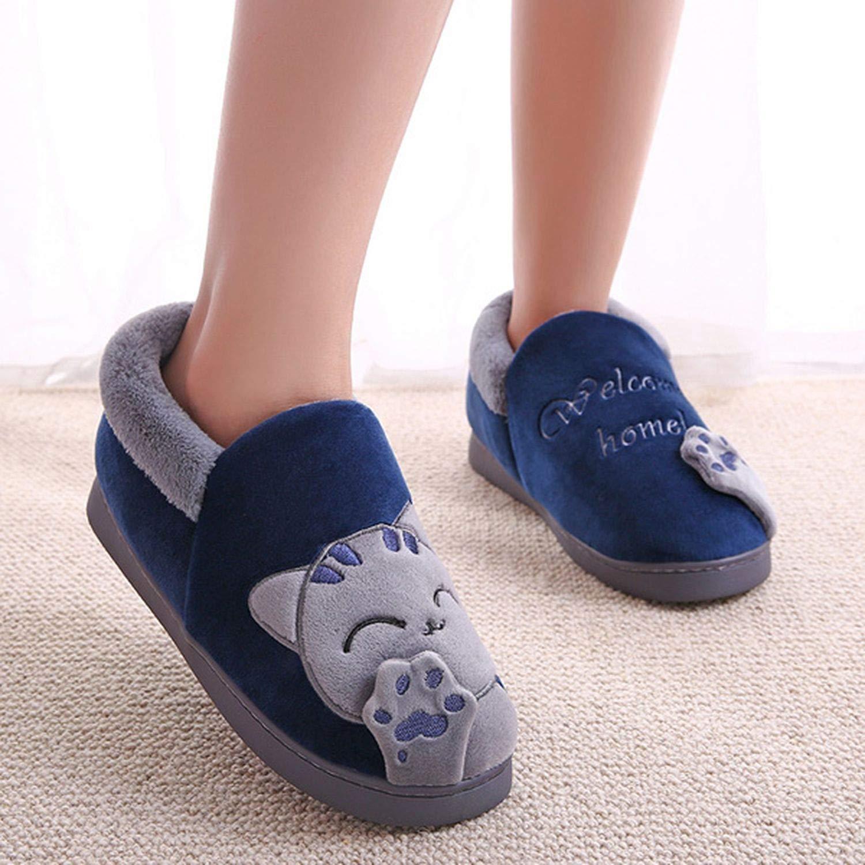 Women Winter Home Slippers Cartoon Cat Shoes Non-Slip Soft Winter Warm House Slippers Indoor Bedroom Couples Floor Shoes