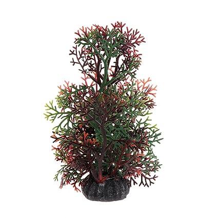 Dabixx Figura decorativa para acuario, diseño de césped de coral artificial