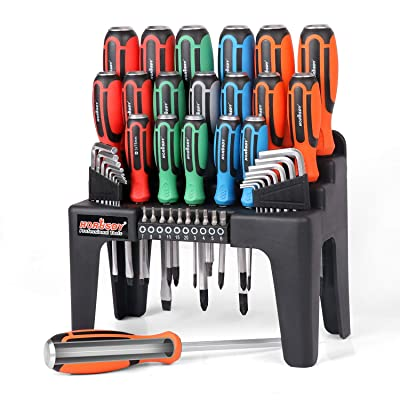 HORUSDY 44-Piece Magnetic Screwdriver Set with Go-Thru Steel Blades | High Torque, Plastic Racking, Best Tools for Men Tools Gift: Home Improvement