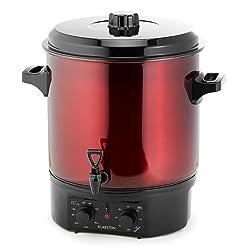 Klarstein Biggie - Stérilisateur électrique, Cuve à stériliser, Faitout, Marmite à vin chaud, 27 L, 2000 W, Température réglable, Minuterie jusqu'à 120 minutes, poignée isolantes, rouge
