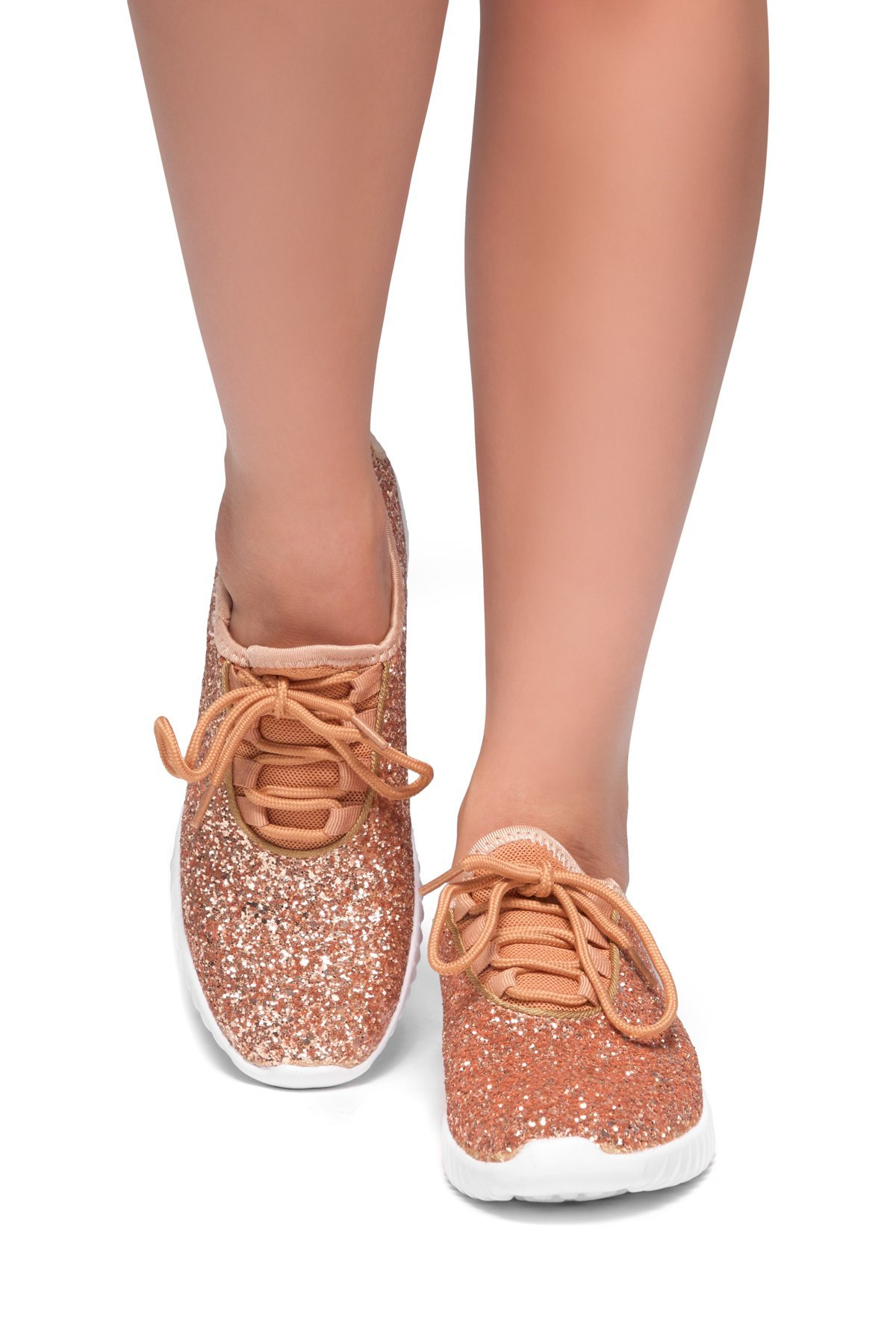 Herstyle Wome's Moniqie Giltter Flat Heel, Glitter Details, Front Lace-up Rose Gold 8.5