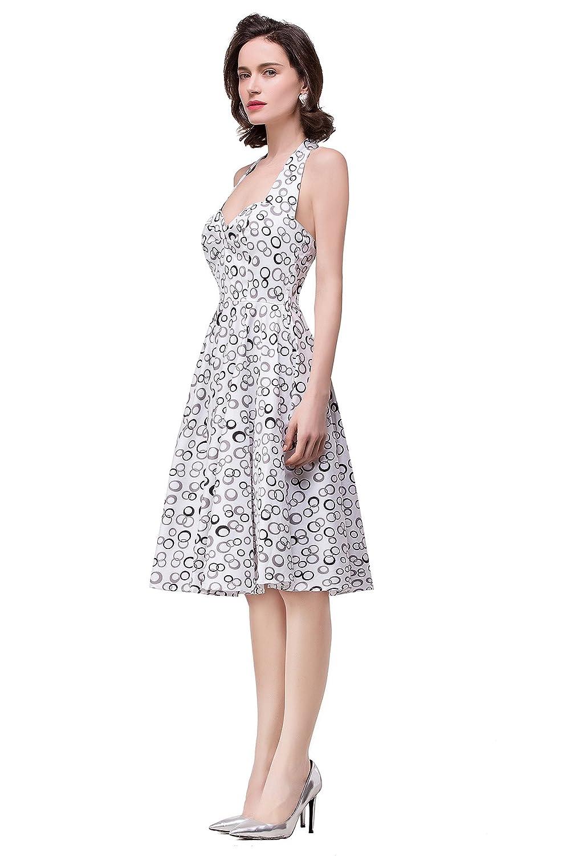 Babyonline® Damen Rockabilly Rock Vintage Hawaii Sommer Kleid Faltenrock Ballkleid + Petticoat