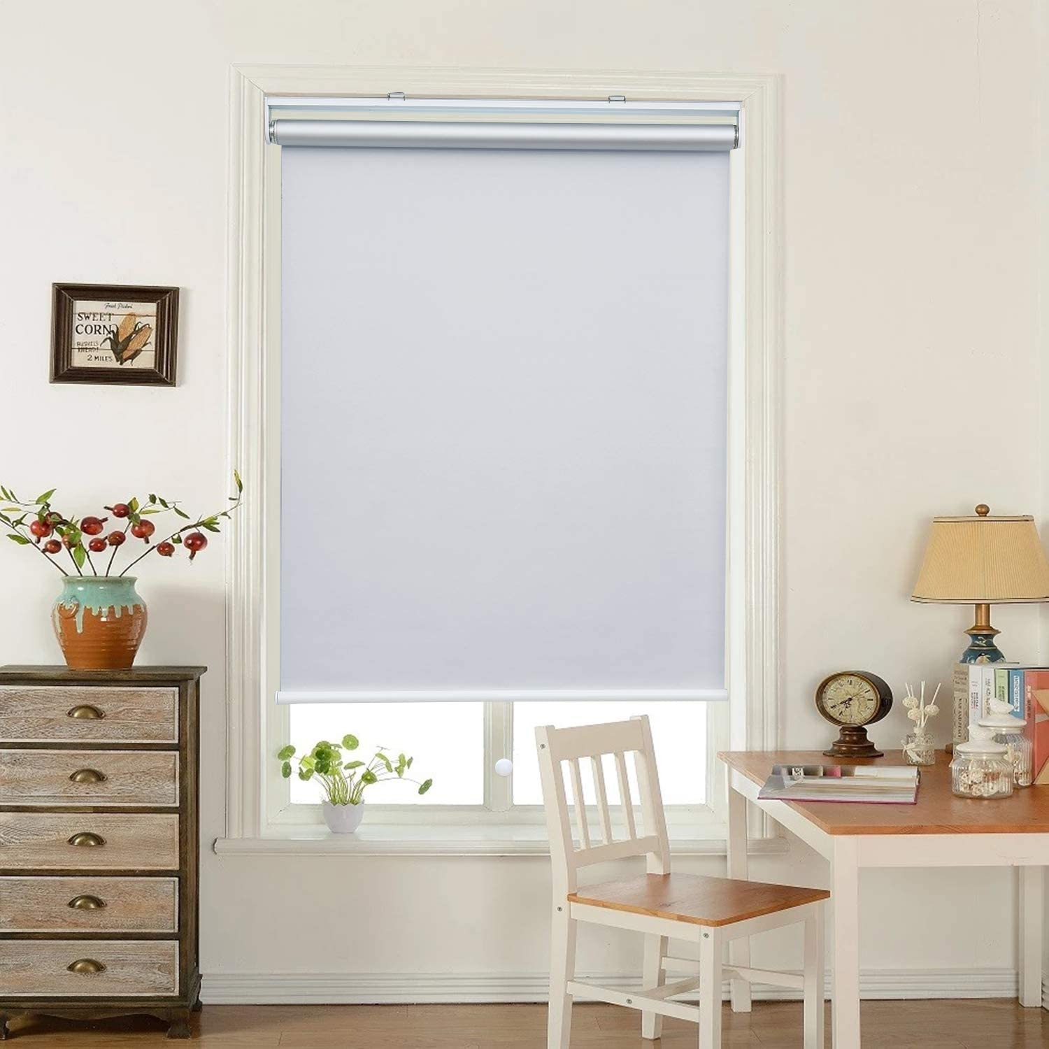 """HOMEDEMO Window Blinds and Shades Blackout Roller Shades Cordless and Room Darkening Blinds White 27"""" W x 72"""" H for Windows, Bedroom, Home"""