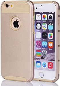 iPhone 6S Plus Case,i-Onyo TPU+PC Case Half Hard and Half Soft Shockproof Defender Case Protective Cover for Apple iPhone 6 6s Plus (5.5 inch), 2 in 1 case (6 Plus Golden/Golden)