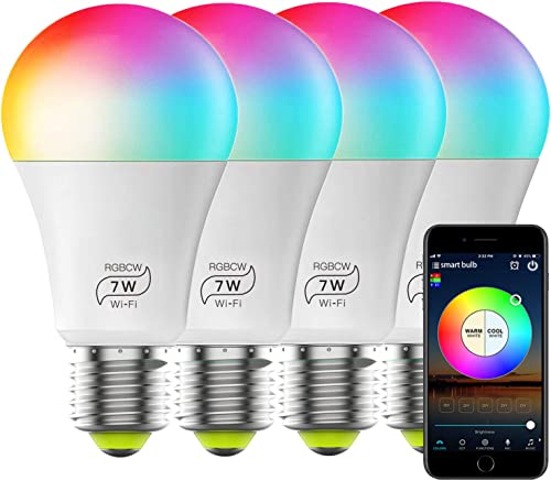 Smart WiFi Bulb No Hub Required, Dimmable Multicolor E26 A19 7w 60w Equivalent App Control LED Smart Light, Work with Alexa Google Home and Siri 4Pack