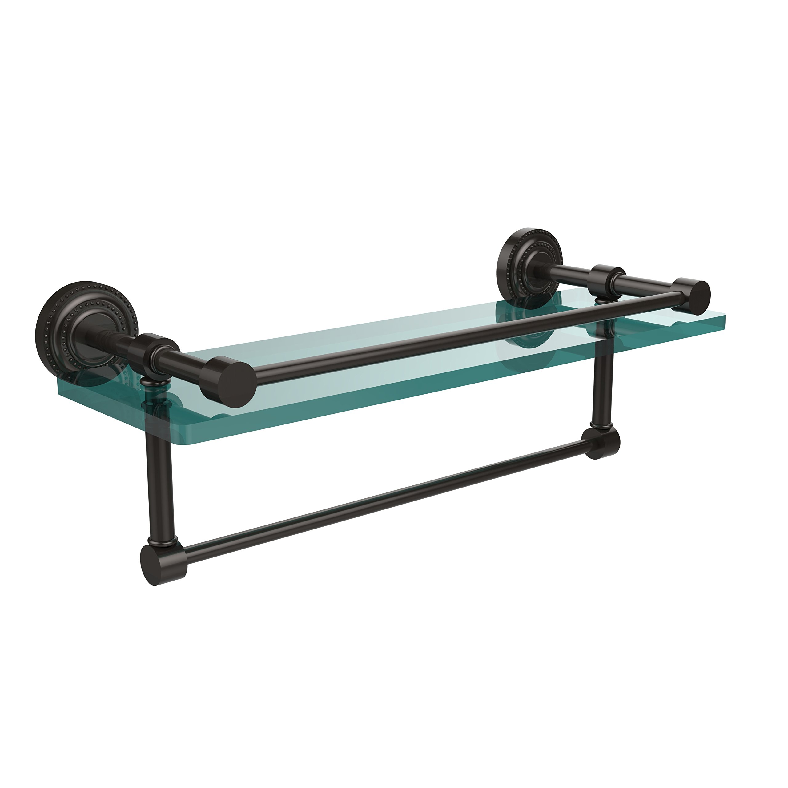 Allied Brass DT-1TB/16-GAL-ORB 16-Inch Gallery Glass Shelf with Towel Bar, Oil Rubbed Bronze