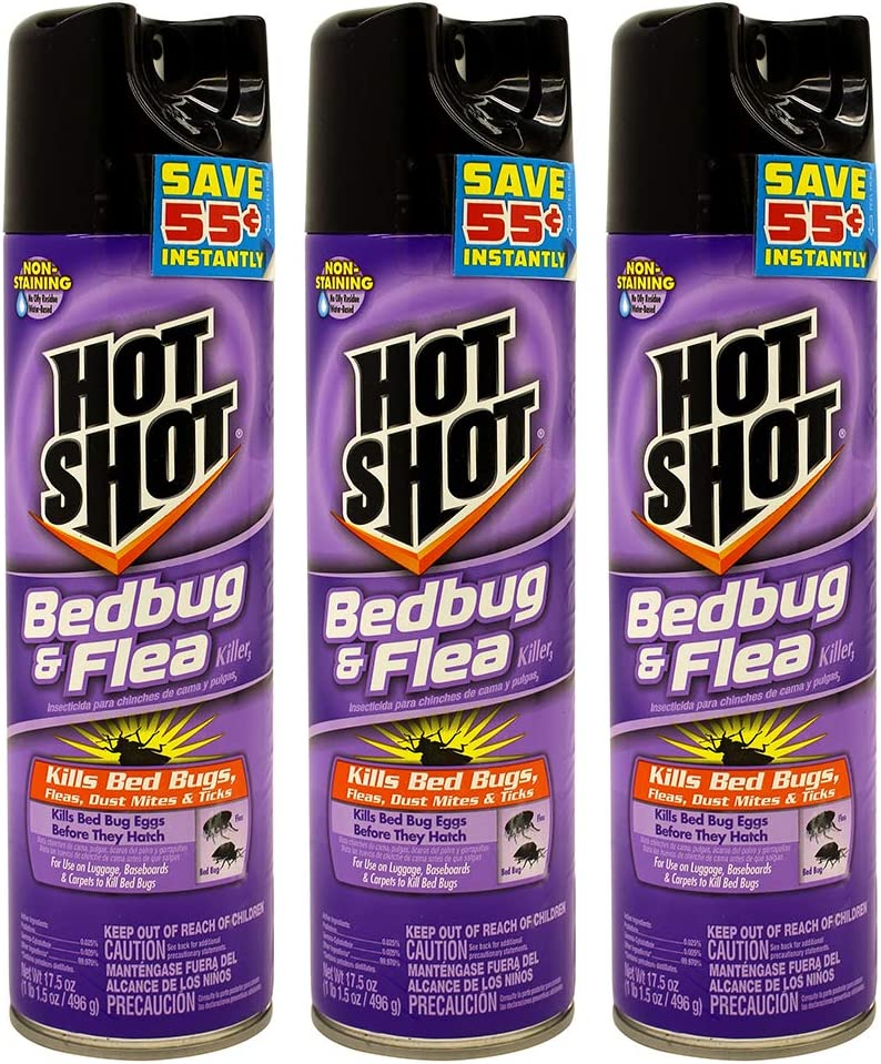Hot Shot Non-Staining Bed Bug and Flea Killer, 17.5-Ounce (Pack of 3)