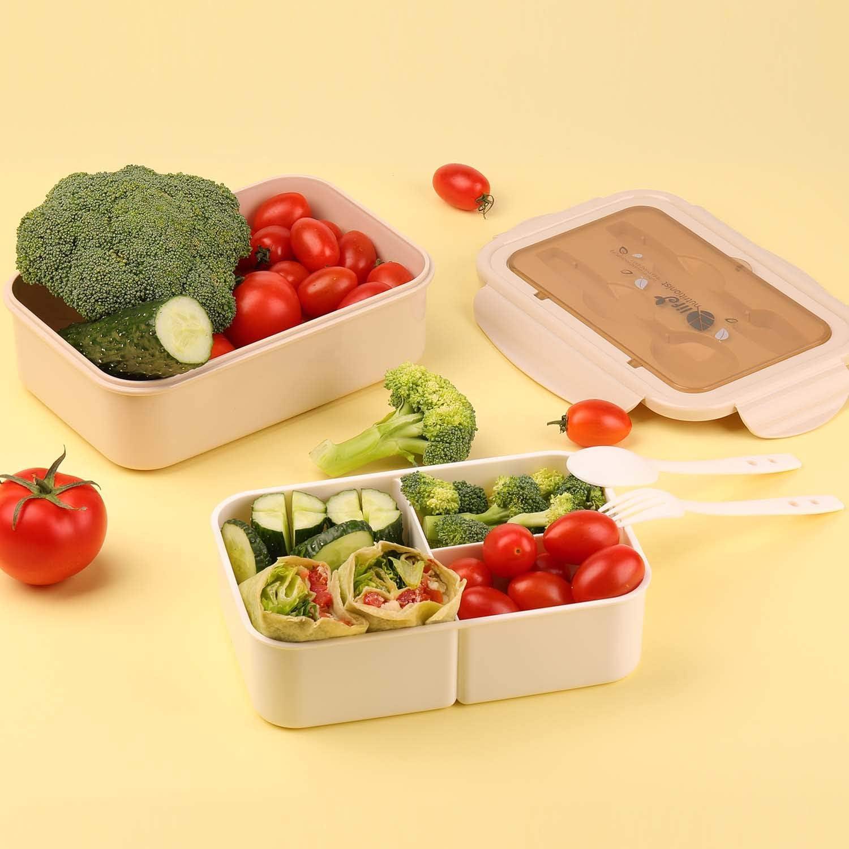 KATELUO Caja Bento Lunch Box Fiambrera Bento 1400 ml 3 Compartimentos 2 Capas con 1 Tenedor y 1 Cuchara,Apto para Microondas Y Lavavajillas Rosa Duradero Saludable Y Apto para Adultos Y Ni/ños