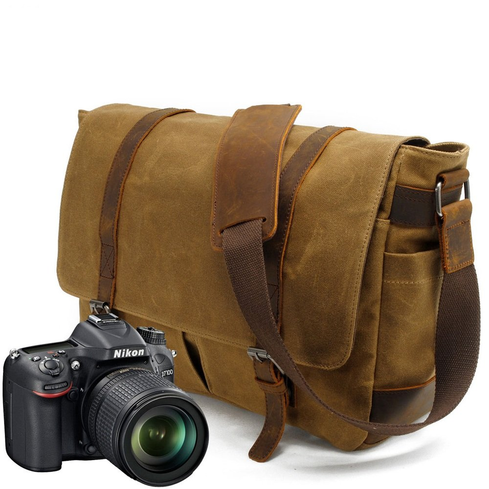 XUROM Briefcase Bag Briefcase Shoulder Bag Messenger Bag Color: Khaki Messenger Bag for Laptop CameraMens Shoulder Bag Simple Retro Zipper Waterproof Canvas Camera Bag