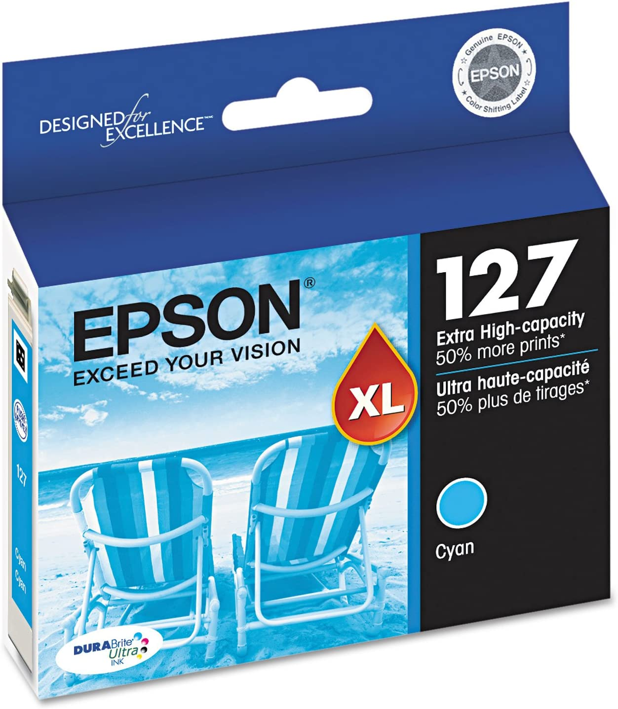 Cyan Yields 755 Pages Epson T127220 127 OEM Ink Cartridge