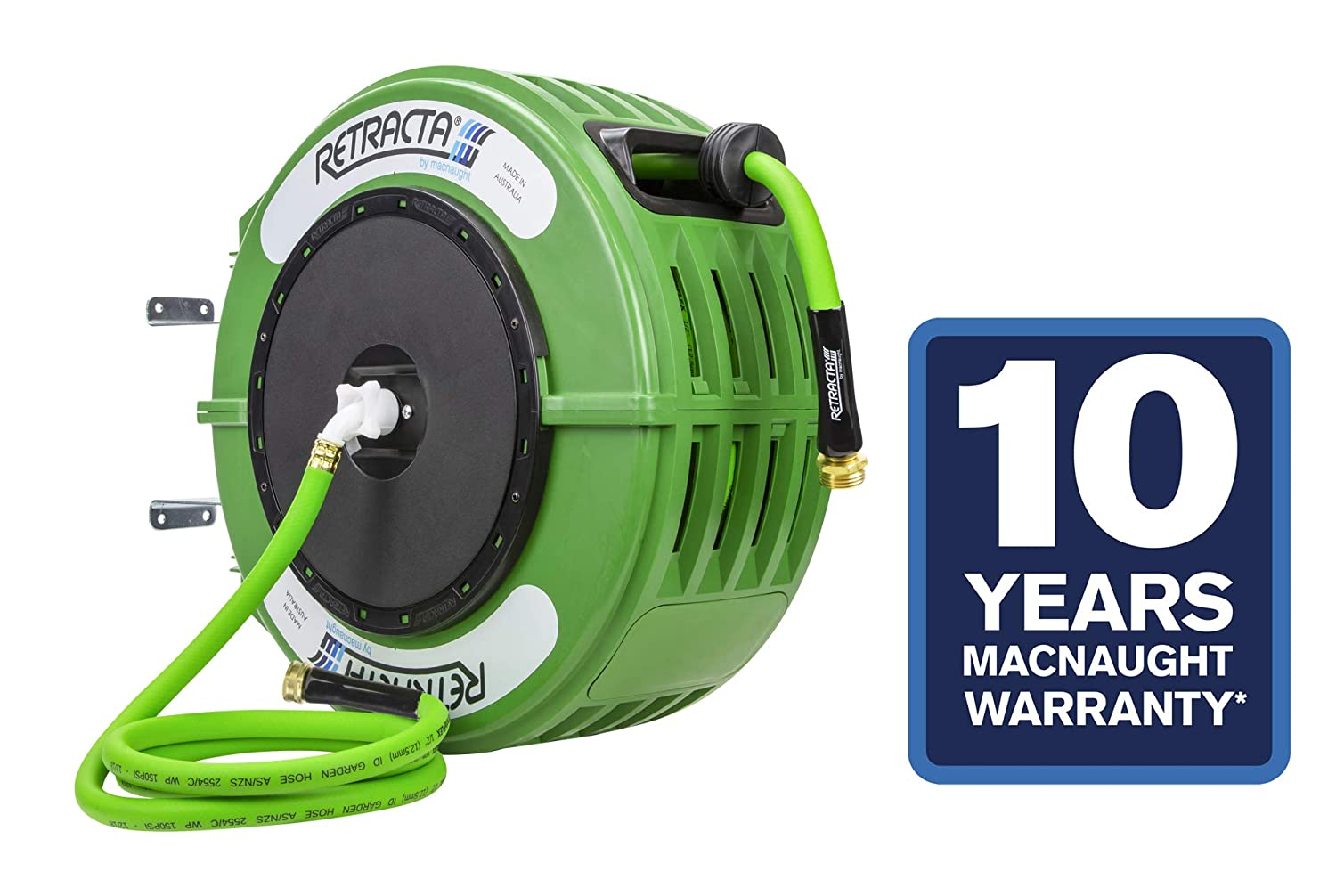 Macnaught Retracta R3 Garden Reel – the first Australian Industrial-designed Garden Reel built for the consumer. Includes Feeder Hose. 10 Year Warranty on Reel! Engineered and built in Australia.